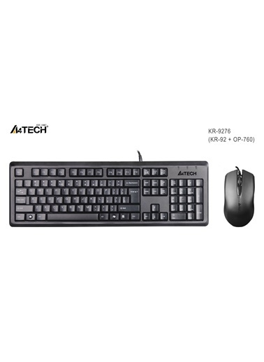 A4 TECH Kr-9276 Q Usb Stnd Klavye+Optik Mouse Siyah